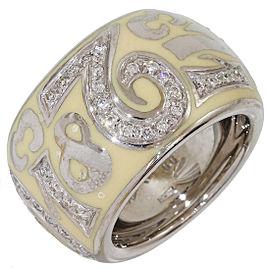 Franck Muller 18K White Gold Enamel Diamond Ring Size 6