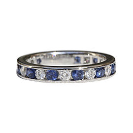 Tiffany & Co. PT950 Platinum with 1.12ct Diamond with 0.63ctw Sapphire Wedding Ring Size 4