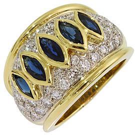 Harry Winston 18K Yellow Gold Diamond, Sapphire Ring Size 6.5