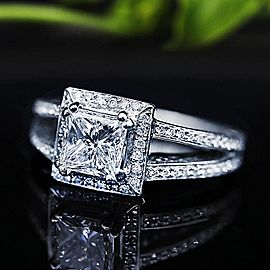 Extraordinary Engagement Ring with center 1.16ct Princess Cut Diamond RN-17500
