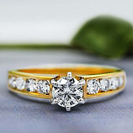 14k Yellow gold Engagement Ring features 1.18 ct of Total Diamond Weight ENG-...