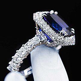 18k White Gold Blue Sapphire Diamond Ring Size 6