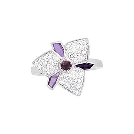 Cartier Carasse D'Orchidee Ring 18K White Gold Amethyst Diamond Size 4.5
