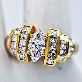 14k Yellow and White Gold 1.00ctw Marquise Diamond Ring Size 7