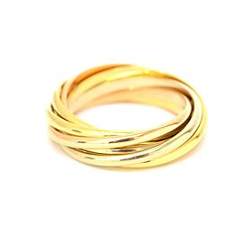 Cartier Band Ring 18K Yellow, White and Rose Gold Size 5.0