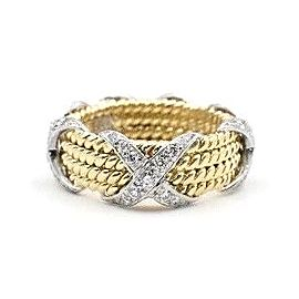 Tiffany & Co. 18K Yellow Gold Platinum Diamond Ring Size 4.75