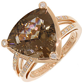 Mauboussin 18K Rose Gold Smoky Quartz, Diamond Ring Size 6