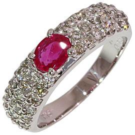 Vecchio 18K White Gold Diamond, Ruby Ring Size 5