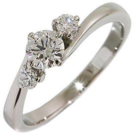 Mikimoto Platinum Diamond Ring Size 5.25