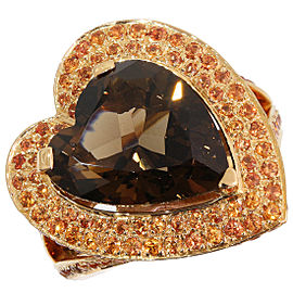 Mauboussin 18K Rose Gold Smoky Quartz Ring Size 5