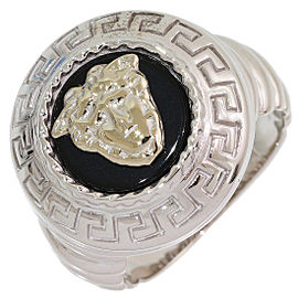 Versace 18K White Gold Onyx Ring Size 6