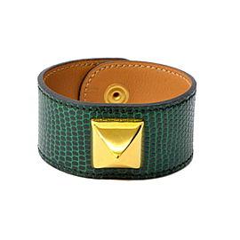 Hermes Medor Gold Tone Metal Leather Bangle Bracelet
