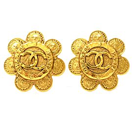 Chanel Gold Tone Metal Vintage CC Earrings