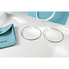 Tiffany & Co. Paloma Picasso 925 Sterling Silver Hammered Hoop Earrings