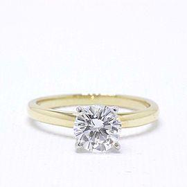 Leo Diamond Engagement Ring Round 0.99 CTS H VS2 14k Yellow Gold