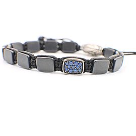 David Yurman Spiritual Beads Sapphires Station Tile Bracelet Sterling Silver