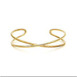 Tiffany & Co. Paloma Picasso 18K Yellow Gold Hammered Crossover Cuff Bracelet