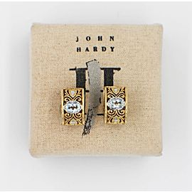 John Hardy 18k Yellow & White Gold Mini Huggie Earrings Aquamarine Oval