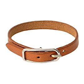 Hermes Leather Silver Tone Metal Bangle Bracelet