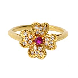 Nina Ricci 18K Yellow Gold Diamond Ruby Ring Size 6.5