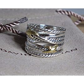 David Yurman Crossover Sterling Silver and 18K Yellow Gold Ring Size 7