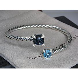 David Yurman Chatelaine Sterling Silver Blue Topaz Diamond Bracelet
