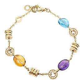 Bulgari Yellow Gold Topaz Citrine Amethist Diamond Bracelet