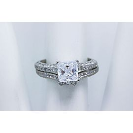 Tacori Crescent 18k White Gold Diamond Engagement Ring Wedding Band Set