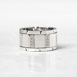 Cartier Tank Francaise 18K White Gold Diamond Wedding Ring Size 5.75