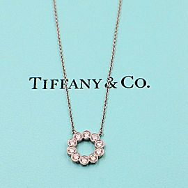 Tiffany & Co .Jazz Platinum and Diamond Circle Pendant Necklace 0.90 ct