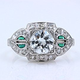 Vintage Diamond & Emerald Ring Old European Cuts 1.78 tcw