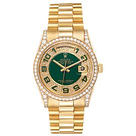 Rolex President Day Date Yellow Gold Green Enamel Diamond Mens Watch 118388