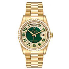 Rolex President Day Date Yellow Gold Green Enamel Diamond Mens Watch 118348