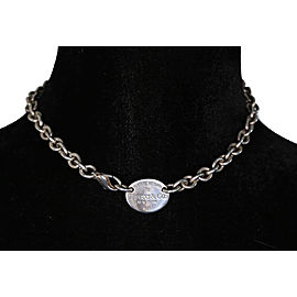 Tiffany & Co. Return To Tiffany 925 Sterling Silver Oval Tag Choker Necklace