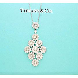 Tiffany & Co. Diamond Platinum Flower Cluster Pendant Necklace 2.09 ct