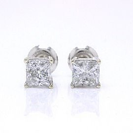 Princess Cut Diamond Stud Earrings 1.60 tcw Set in 14k White Gold