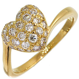 Cartier Heart Pave 18K Yellow Gold Diamond Ring Size 6