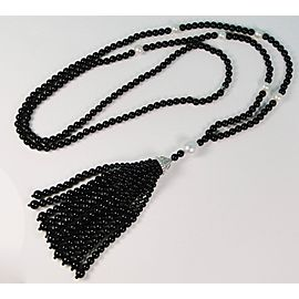 Tiffany & Co. Ziegfeld Sterling Silver Onyx Cultured Pearl Necklace