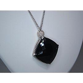 David Yurman Sterling Silver Onyx, Diamond Pendant