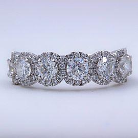 Henri Daussi 18K White Gold Diamond Wedding Ring Size 6