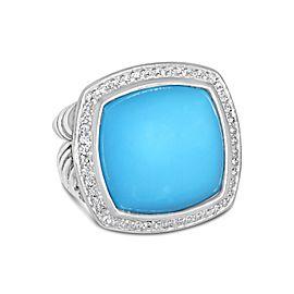David Yurman Sterling Silver Turquoise, Diamond Ring Size 7