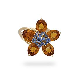 Van Cleef & Arpels 18K Yellow Gold Citrine Sapphire Ring Size 5.5