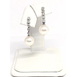14K White Gold Cultured Ayoka Pearl Diamond Earrings