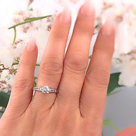 14K White Gold Diamond Engagement Ring Size 6