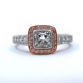 Platinum & Rose Gold Diamond Engagement Ring Cushion & Pink Diamonds 1.50 tcw