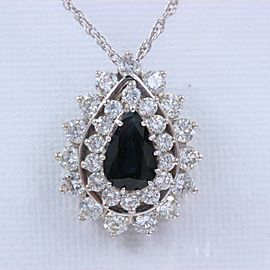 Sapphire & Diamond Pendant Necklace 4.78 tcw 14k White Gold