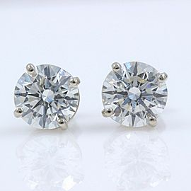 Round Diamond Solitaire Stud Earrings 3.06 tcw 14k White Gold Retail $20,000