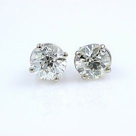 Old Cuts Diamond Solitaire Stud Earrings 1.77 tcw 14k White Gold Retail