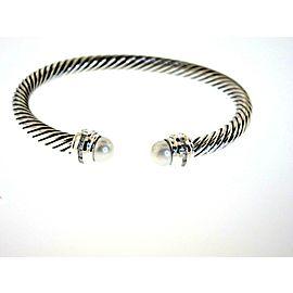 David Yurman Sterling Silver Cultured Pearl, Diamond Bracelet