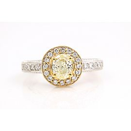 Yellow Oval Diamond Engagement Ring 0.93 tcw in 18k White Gold